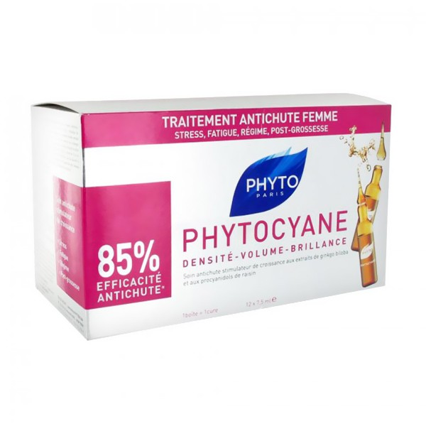Acheter phytocyane phyto anti chute ampoules 12 x for Prix traitement remontee capillaire