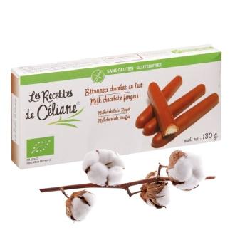 Bâtonnets chocolat au lait bio et sans gluten pour le goûter