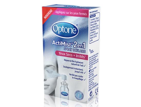 Optone ActiMist 2 en 1 Spray Oculaire Yeux Secs + Irrités 10ml