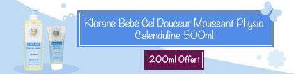 Voir produit Klorane Bébé Gel Douceur Moussant Physio Calenduline 500ml + 200ml Offert
